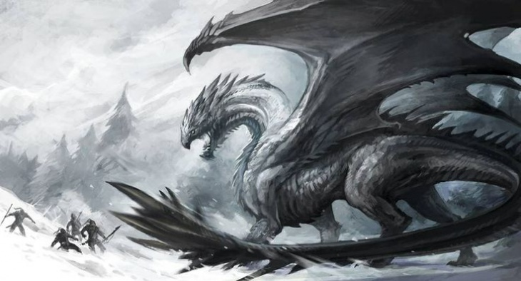 dragon fighting humans in winter