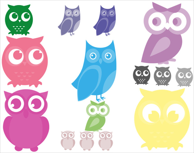 Adorable Owls Brushes of different types