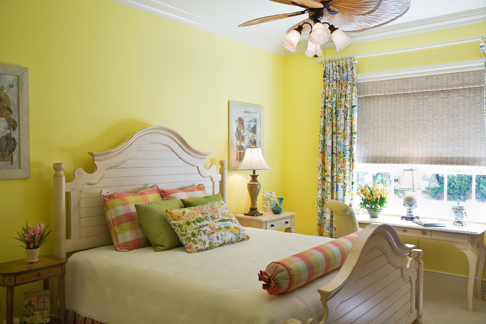 Tropical Yellow Bedroom Design