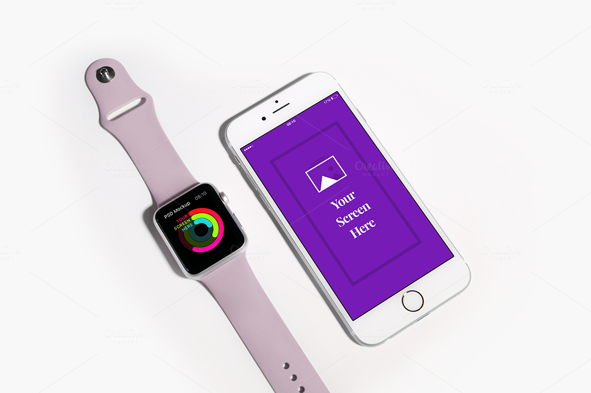 apple iphone and watch mockup