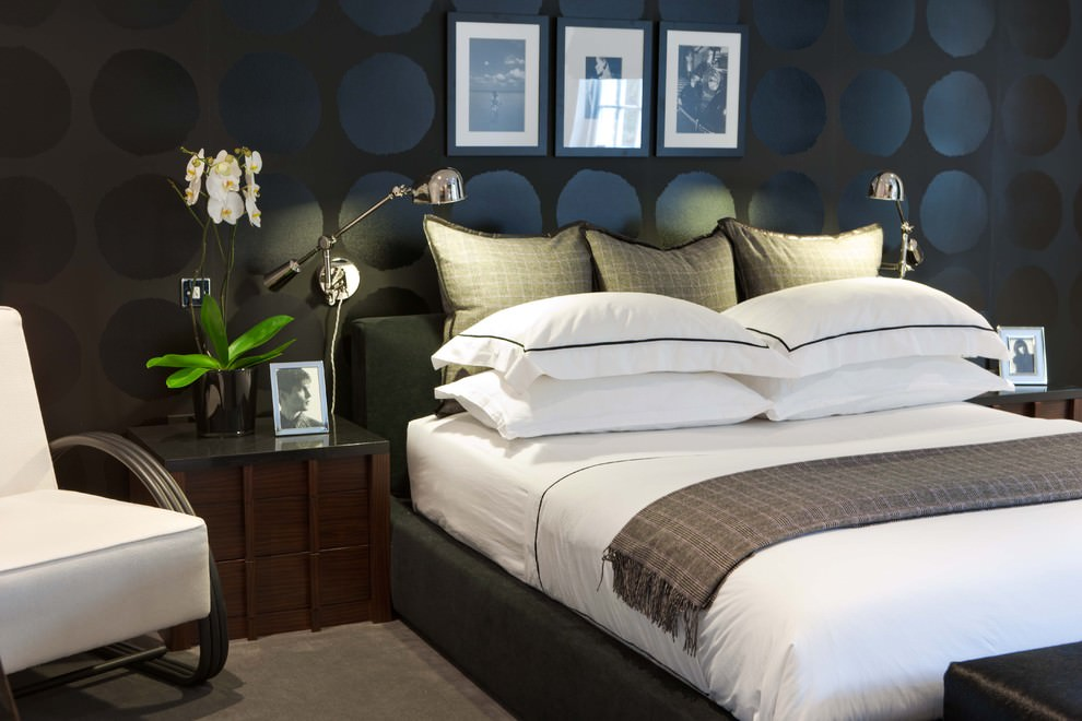 Modern black doted bedroom design
