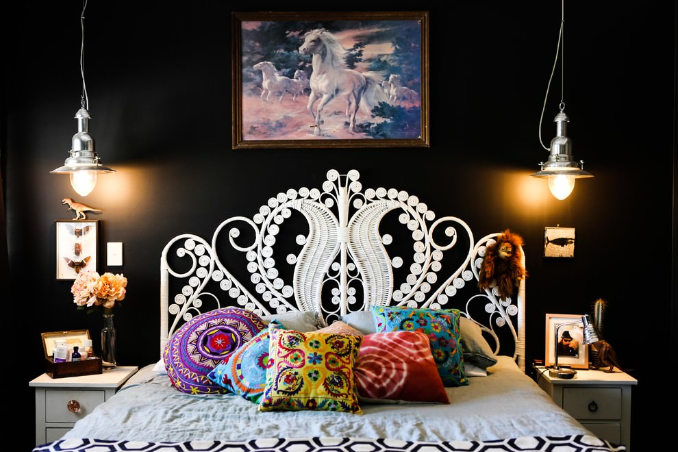 eclectic black bedroom spaces design