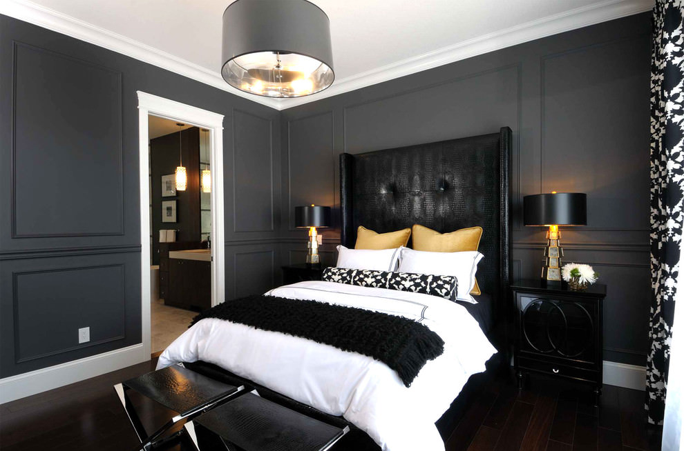 beautiful bold black bedroom design