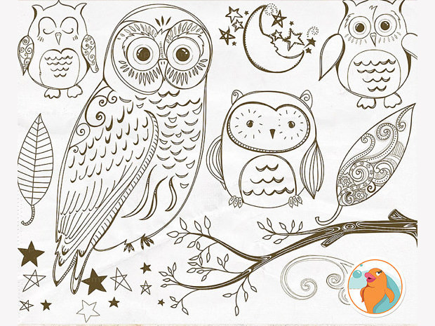 Hoot Owl Doddle Photoshop Brushes