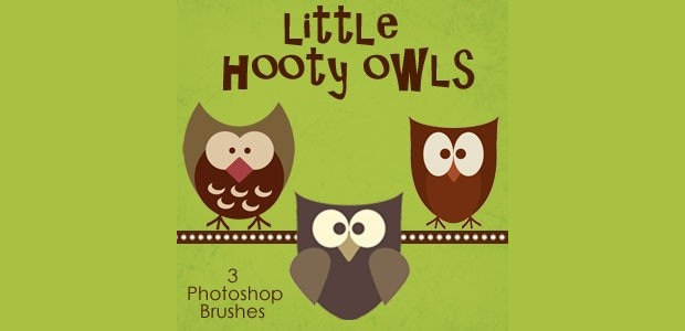 Cute Hooty Owl Photoshop Brushes