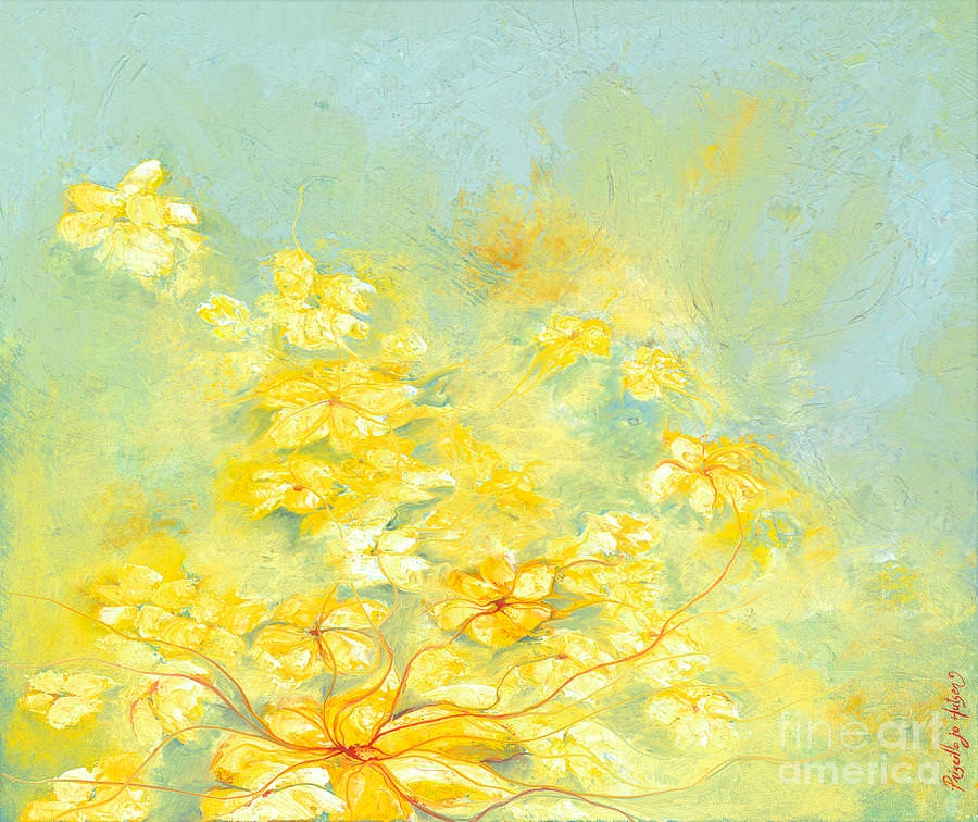 Abstract Yellow Flowers Painting