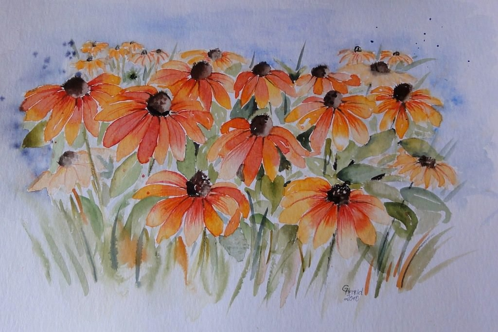 Beautiful Red and Orange Flowers Painting