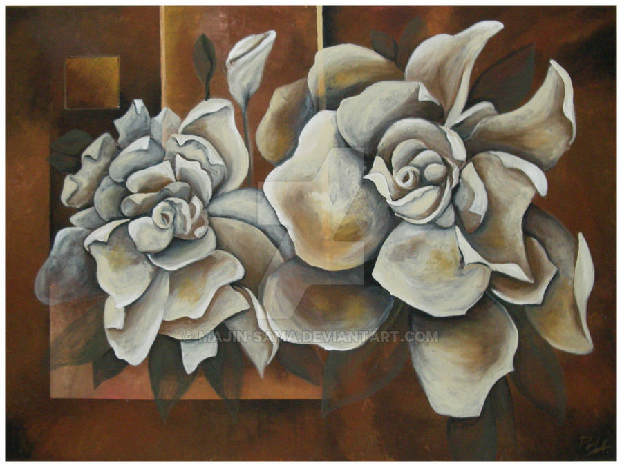 Brown and White Flower Painting