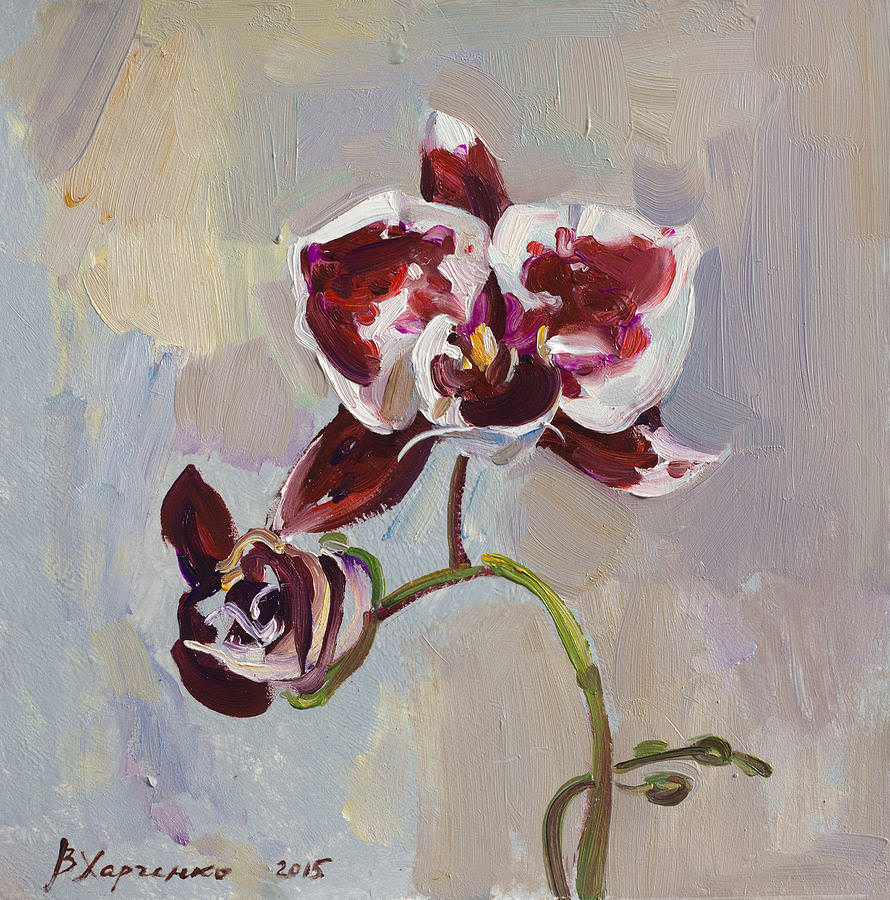 graceful oil flower painting