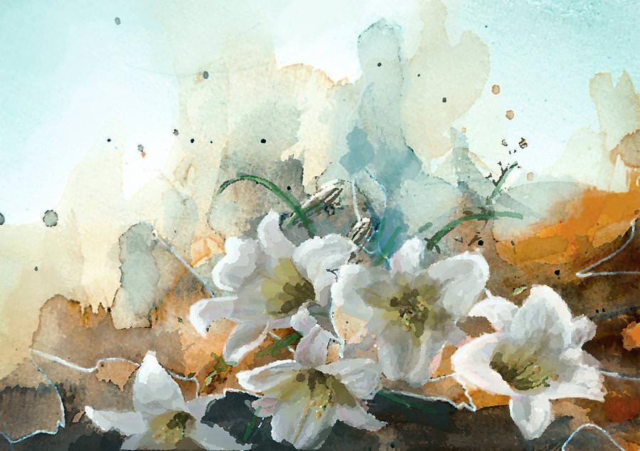 lotus garden oil painting