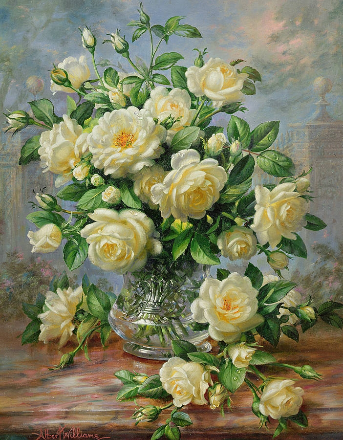 princess diana roses in cut glass vase