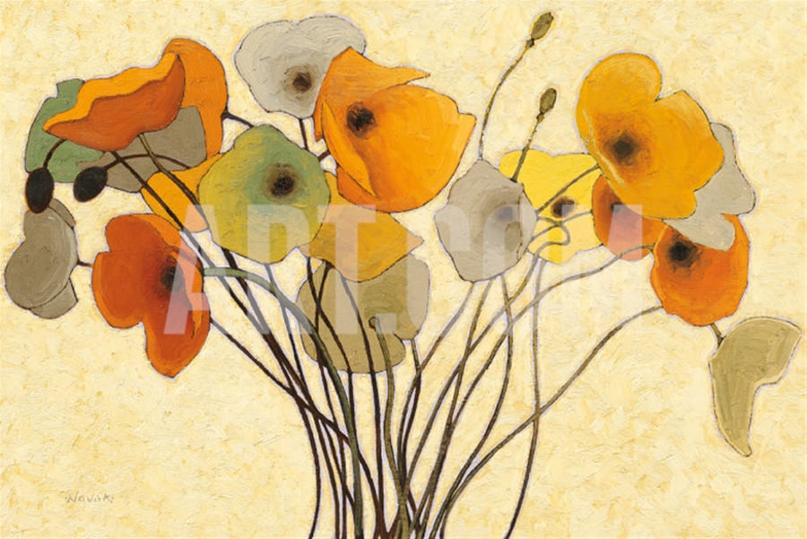 Pumpkin Poppies Painting