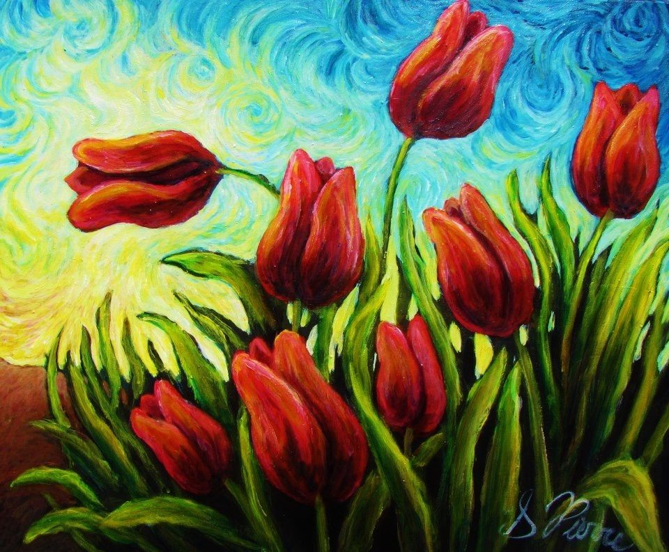 Tulips Painting on Blue Background