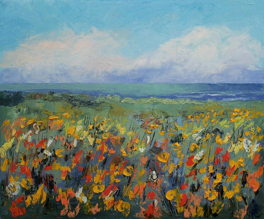 wildflower Seascape Cute Painting