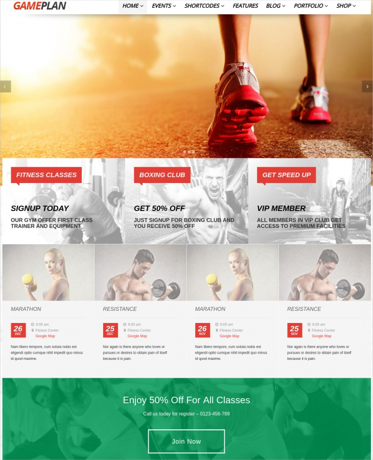Event & Gym Fitness WordPress Theme