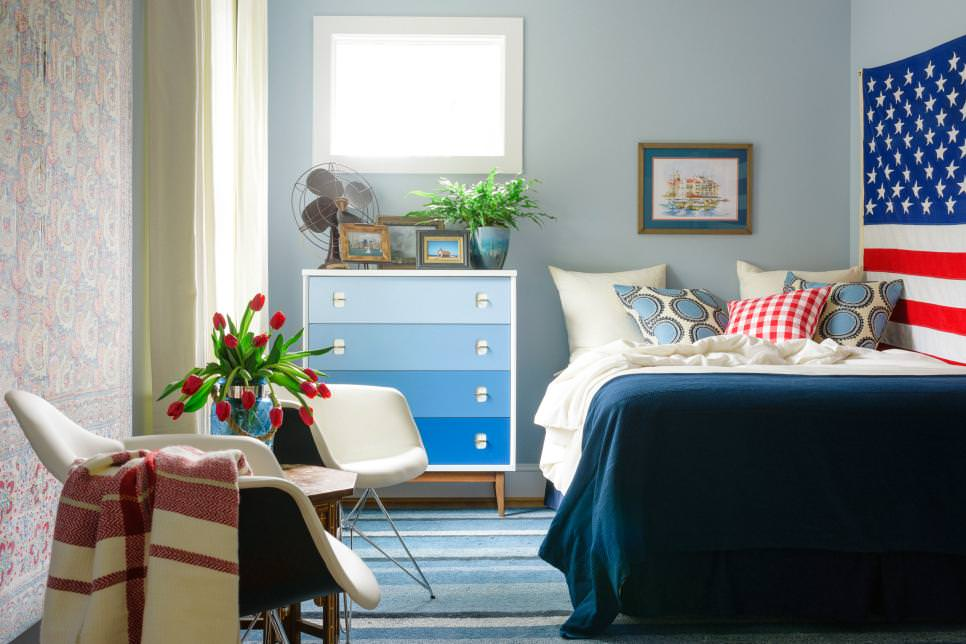 blue transitional bedroom design