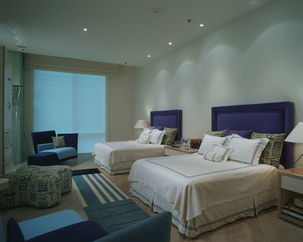 contemporary bedroom cool blue design