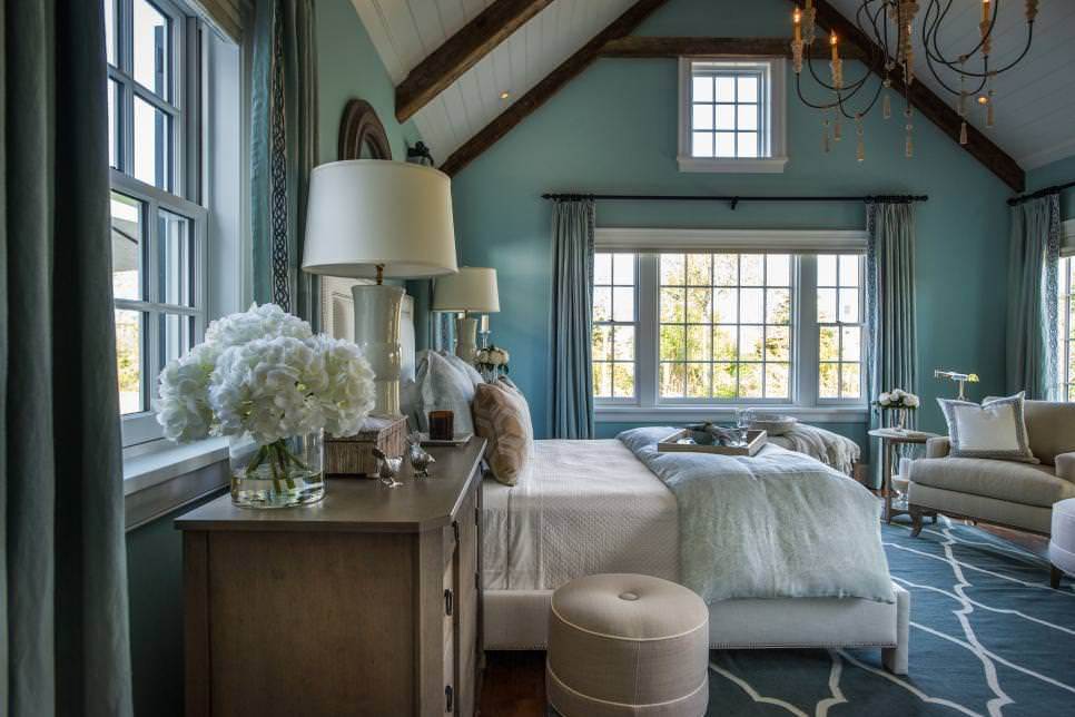 Light Blue Master Bedroom With Natural Light