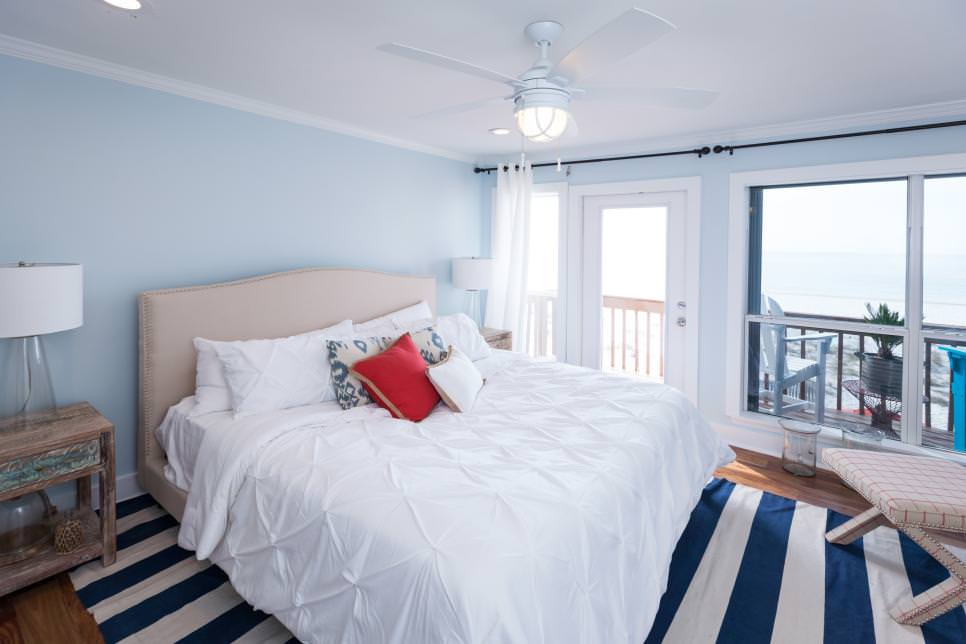Light blue walls in bedroom design