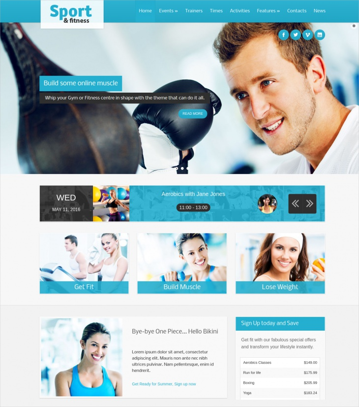 Sport & Fitness Club Responsive Theme