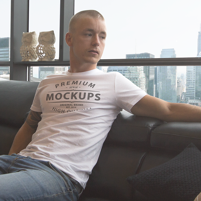 casual realistic t shirt mockup
