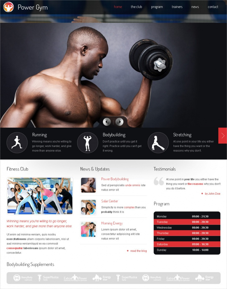 Responsive Fitness Club WP Theme