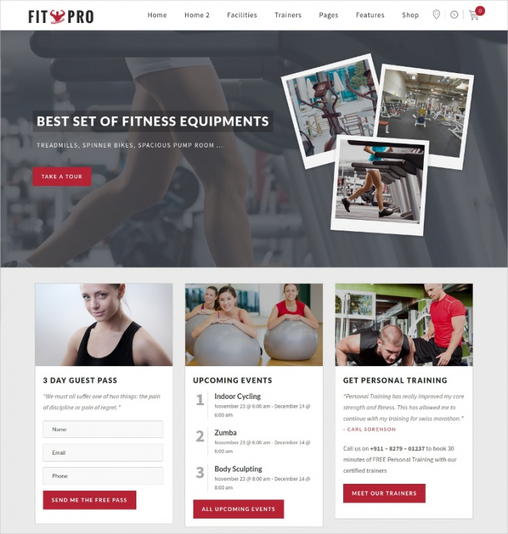 Modern Fitness Gym WordPress Theme