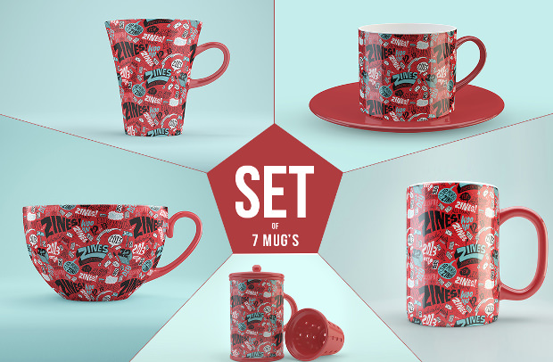 Beautiful Set of Mug Mock up