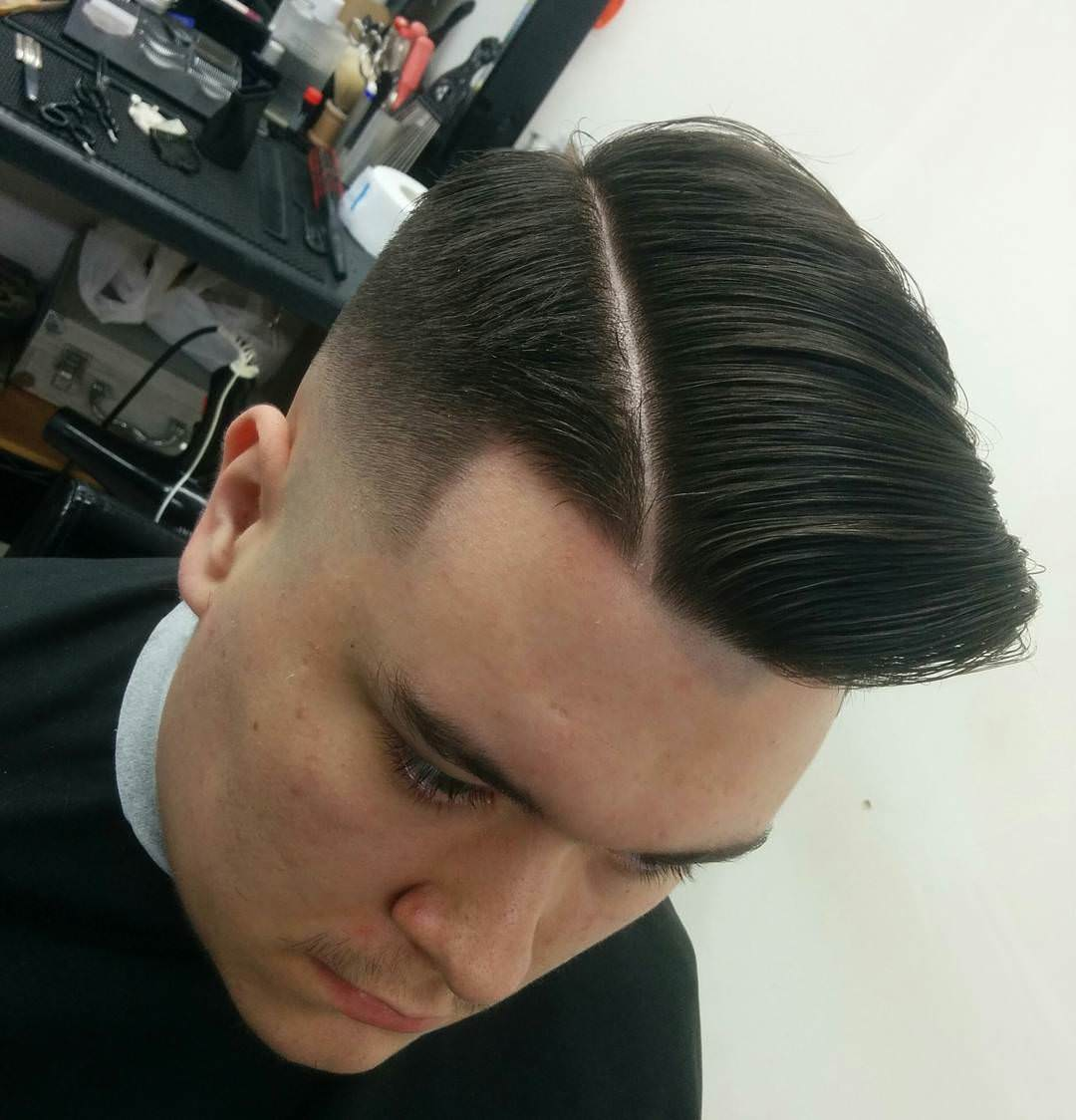 Top View Skin Faded Haircut Design