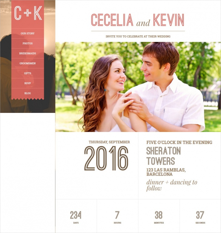 single page responsive wedding theme