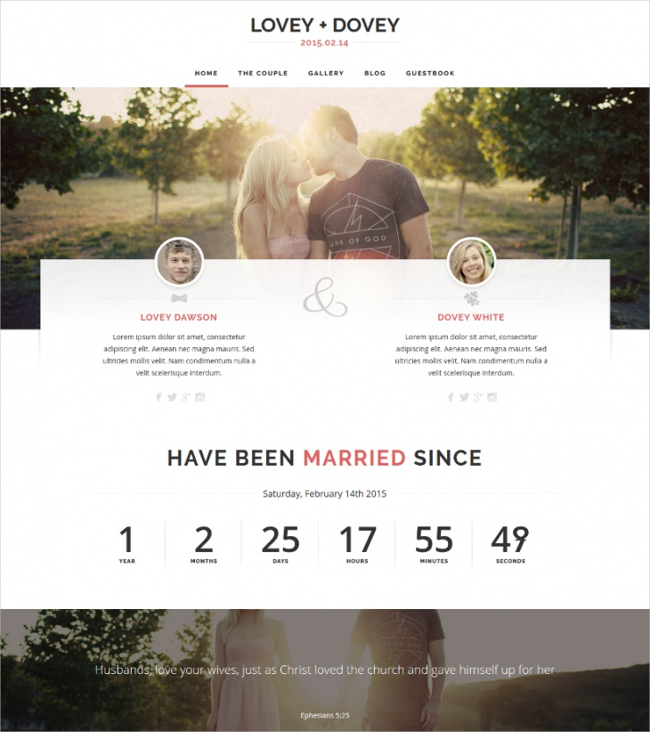 Responsive Wedding Site Theme