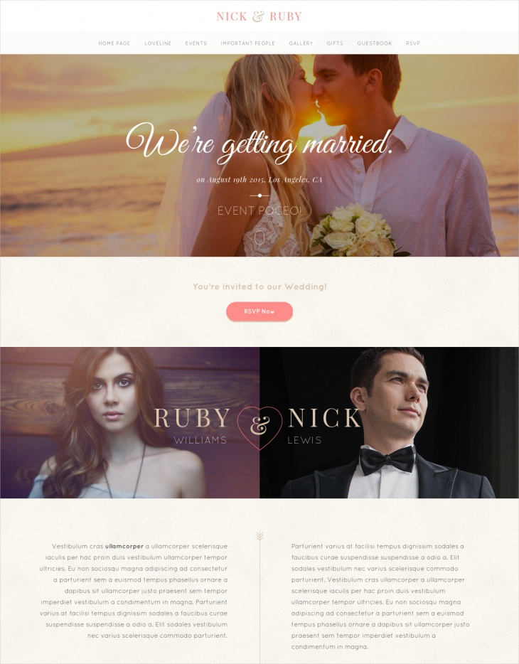 OnePage Wedding Theme