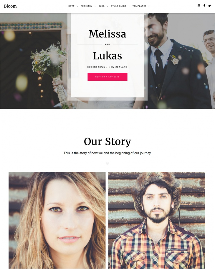 Bloom Responsive Wedding Theme
