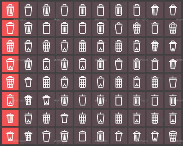 90+ Trash bin icon set