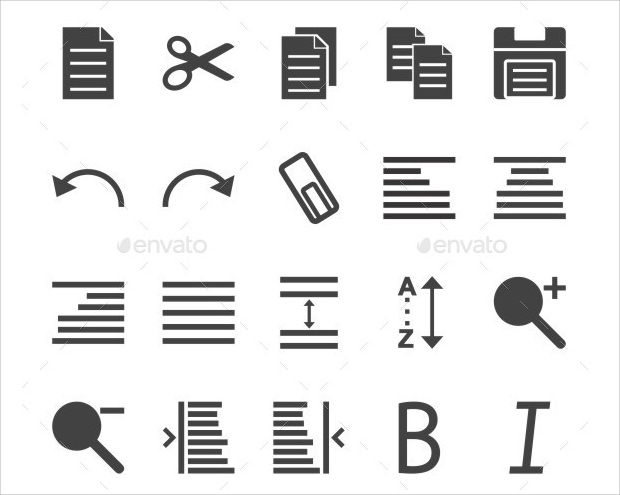 collection of different types of text editing icons
