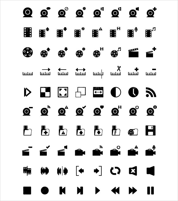 black and white editing icons