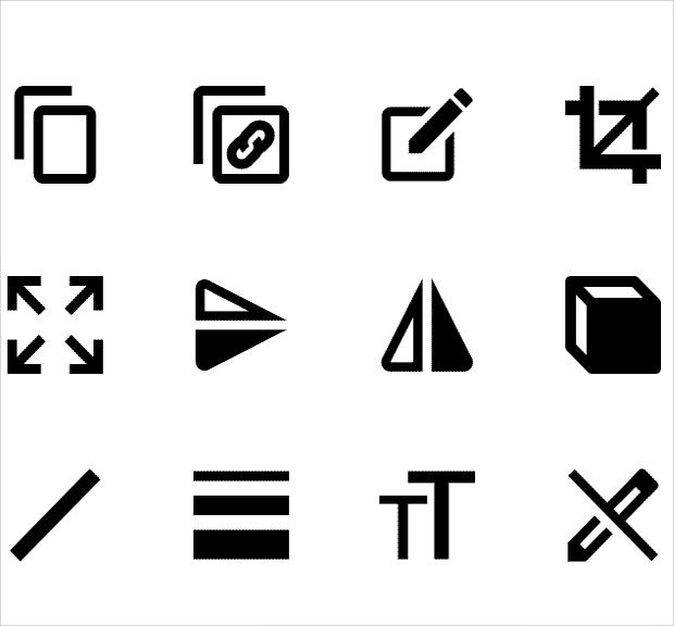 collection of Android editing icons