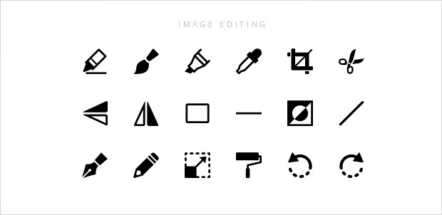 set of windows image editing icons