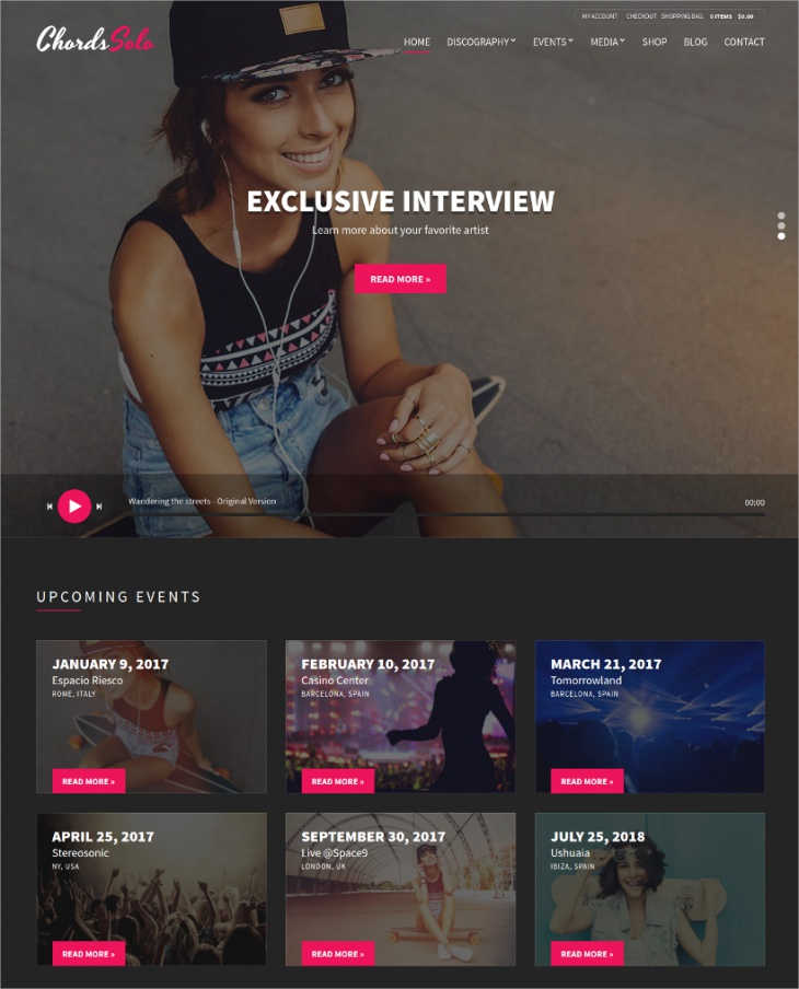 chords artist wordpress theme