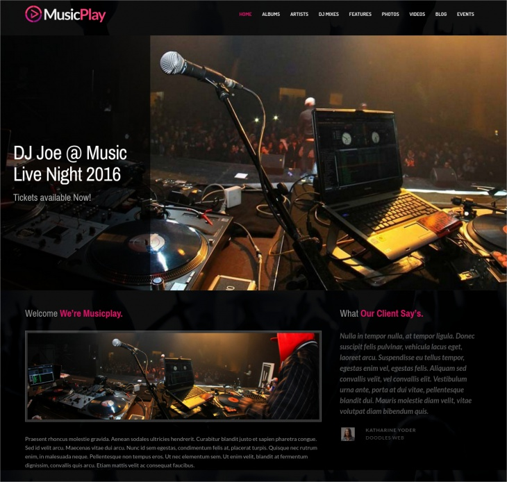 Responsive Music & DJ WordPress Theme