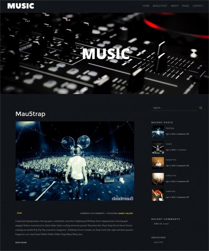 music wordpress blog theme