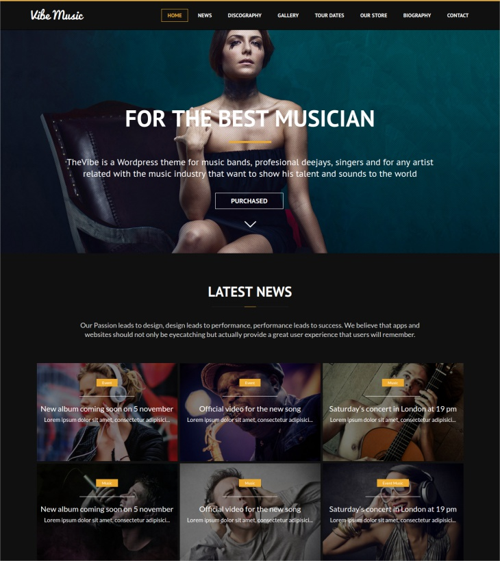 VibeMusic WordPress Theme