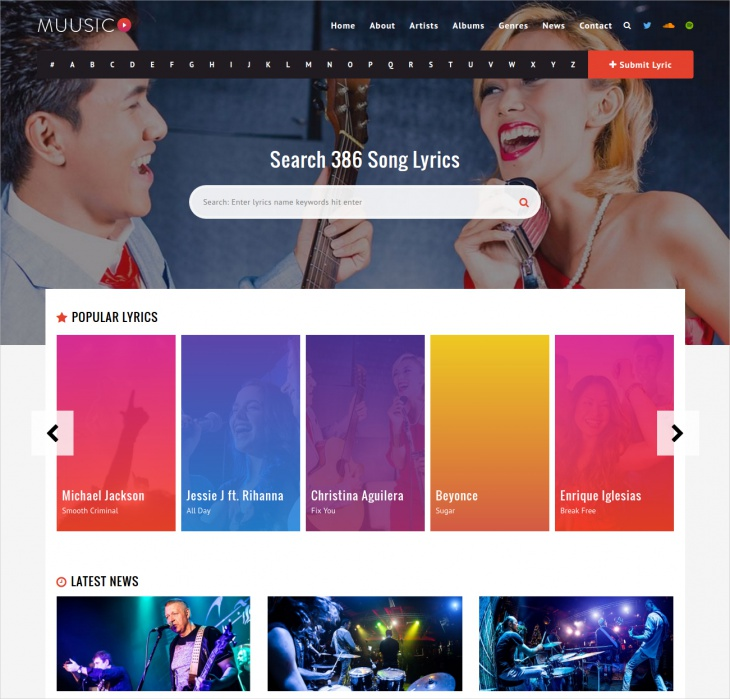 song lyrics wordpress theme
