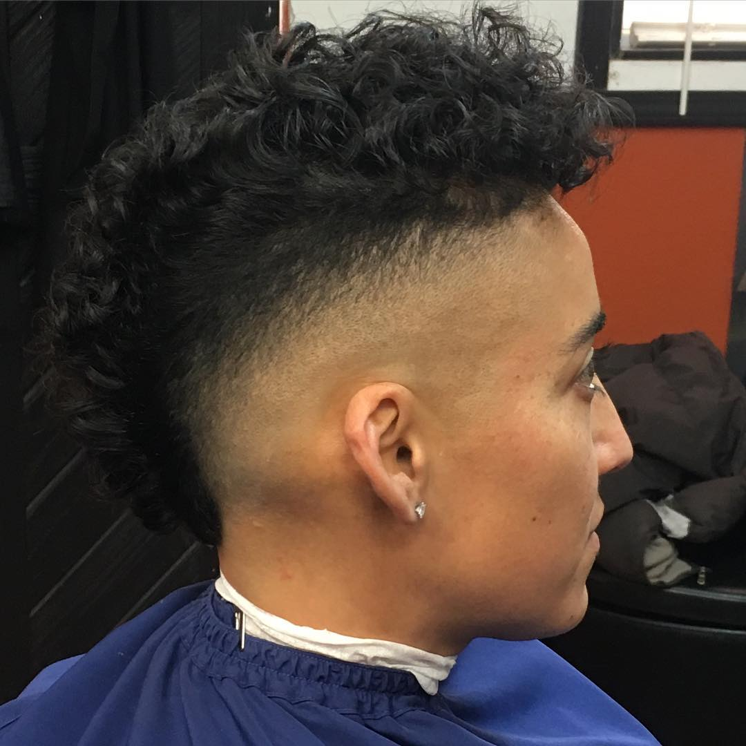 Curly Mohawk Fade Haircut Design