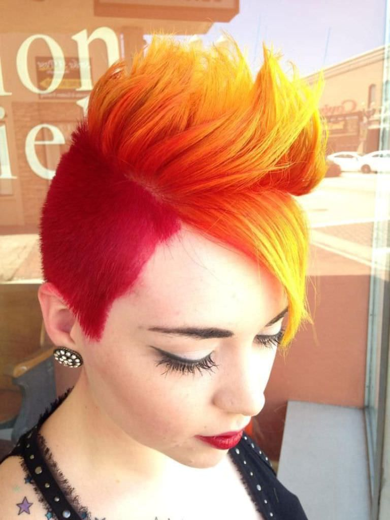 colored mohawk fade haircut design