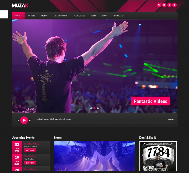 Muzak Music WordPress Theme