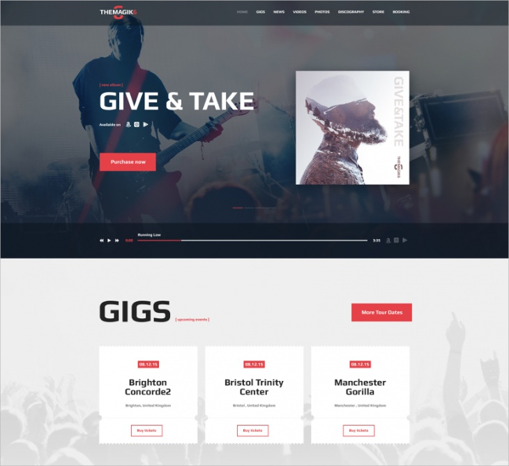 Modern Musician WordPress Theme