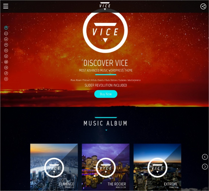 Vice WordPress Music Theme
