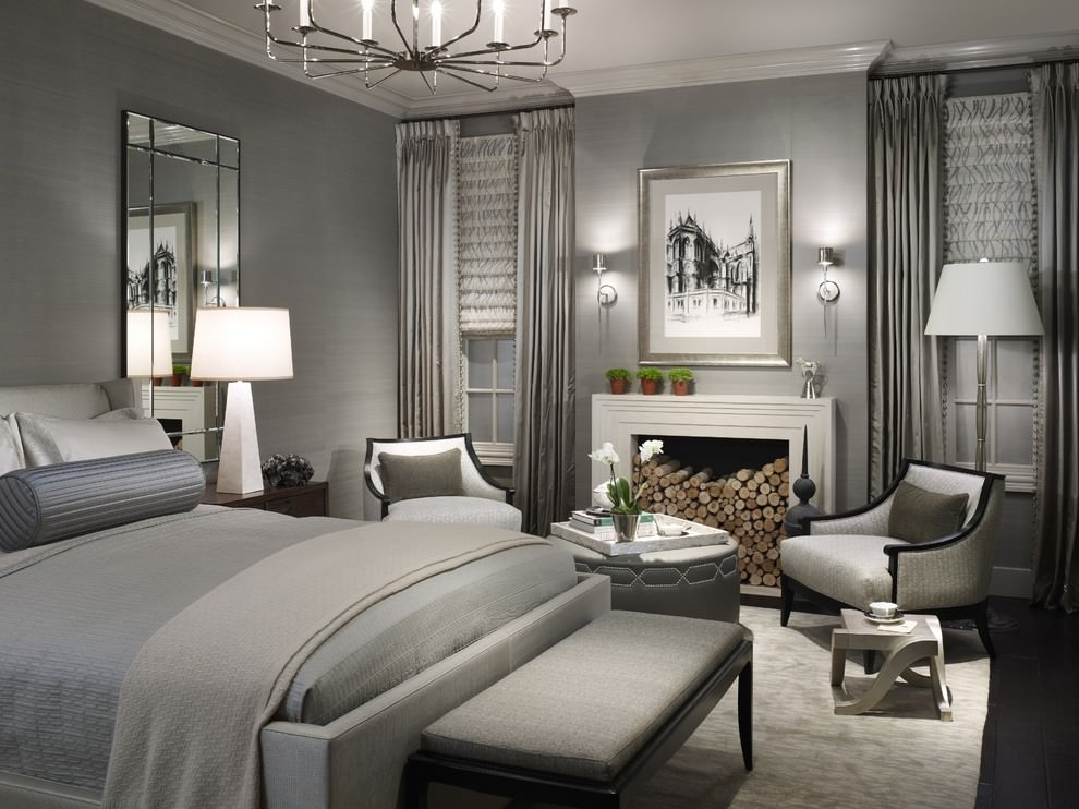 Bright gray Transitional bedroom design