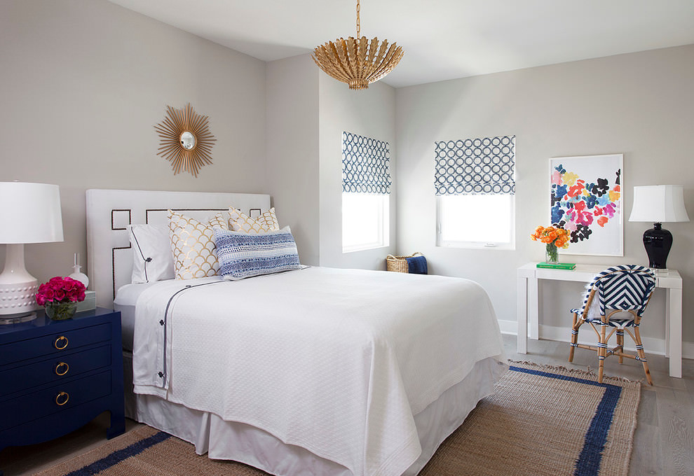 Cool white Transitional bedroom design